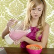 Retro breakfast woman milkshake corn flakes — Stock Photo