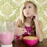 Retro breakfast woman milkshake corn flakes — Stock Photo #5499518