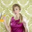 Hysterical retro woman vintage iron wallpaper — Stock Photo #5499527
