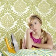 Retro housewife vintage woman clotes iron tired — Stock Photo