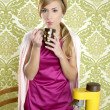 Coffee retro woman vintage cup kitchen — 图库照片