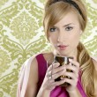Coffee retro woman vintage cup portrait — Foto de Stock