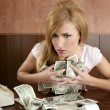 Stock Photo: Greed money retro womoffice vintage accountant