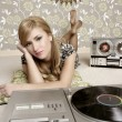 Audiophile retro woman vinyl turntable music — Stock Photo