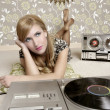 Audiophile retro woman vinyl turntable music - Stock Photo