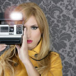 Fashion photographer retro camera reporter woman — Stock Photo
