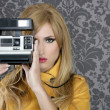 Stock Photo: Fashion photographer retro camera reporter woman