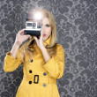 Royalty-Free Stock Photo: Fashion photographer retro camera reporter woman