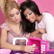 Fashion barbie girls pink microwave sweets kitchen — Stock Photo #5499616