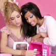 Fashion barbie girls pink microwave sweets kitchen — Stock Photo