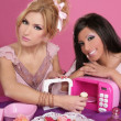 Stock Photo: Fashion barbie girls pink microwave sweets kitchen
