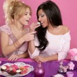 Постер, плакат: Barbie fashion girls fighting for eat the sweet