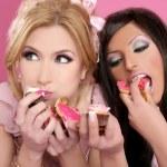 Barbie beautiful girls eating diet sweet — Stock Photo
