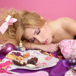 Stock Photo: End party pink princess barbie fashion womsleeping