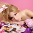 Stock Photo: End party pink princess barbie fashion womtired