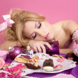 Drunk party princess barbie pink fashion woman - Stock Photo