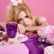 End party pink princess barbie fashion woman tired — Stockfoto