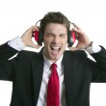 Businessman headphones noise expression gesture — Stock Photo