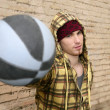 Grunge basket ball street player on brickwall - Stock Photo
