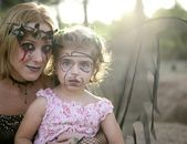 Woman dress for halloween with make-up girl — Foto Stock