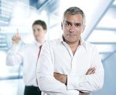Senior gray hair manager in hi-tech office — Stock Photo