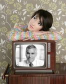 Retro woman in love with tv senior handsome hero — Stock Photo