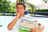 Boy student teenager happy thinking with books — Stock Photo