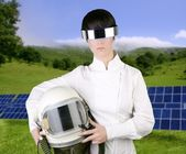 Futuristic spaceship aircraft astronaut helmet woman — Stock Photo