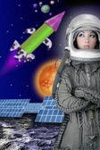 Aircraft astronaut spaceship helmet woman fashion — Stock Photo