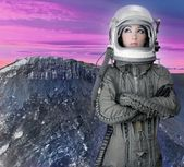 Astronaut spaceship aircraft helmet fashion woman — Stock Photo