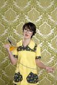 Housewife nerd retro unhappy iron chores — Stock Photo