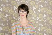 Nerd retro woman 60s vintage glasses — Stock Photo