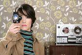 Multimedia cinema 8mm woman music tape open ree — Stock Photo