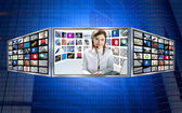 Beautiful news tv redhead woman on 3d display — Stock Photo