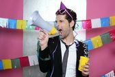 Loudspeaker crazy party man shouting happy — Stock Photo