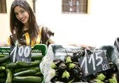 Fashion beautiful woman in vegetables market — Stock Photo