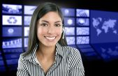 Beautiful indian woman television news presenter — Stock Photo