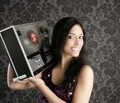 Retro open reel tape recorder beautiful brunette Dj — Stock Photo