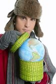 Crazy student boy with global map sphere — Stock Photo