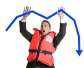 Businessman sinking in crisis, lifejacket metaphor — Stock Photo