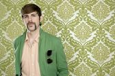 Eccentric retro mustache geek man salesperson — Stock Photo