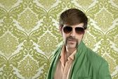 Geek retro verkäufer mann lustige schnurrbart — Stockfoto