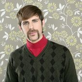 Mustache retro salesman geek portrait — Stockfoto