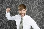 Aggressive funny retro mustache businessman — Stock Photo