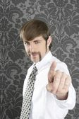 Point finger retro businessman salesperson — Stock Photo