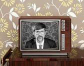 Nerd retro 60s vintage wooden tv presenter — Stock Photo