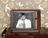 Retro tv presenter mustache man wood television — Stock Photo