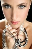 Attractive fashion elegant woman jewelry — Stock Photo
