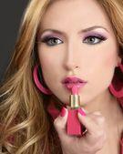 Lipstick fashion blondel barbie doll makeup retro 1980s — Stock Photo
