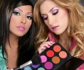 Eyeshadow makeup palette brush fashion barbie girls — Stock Photo